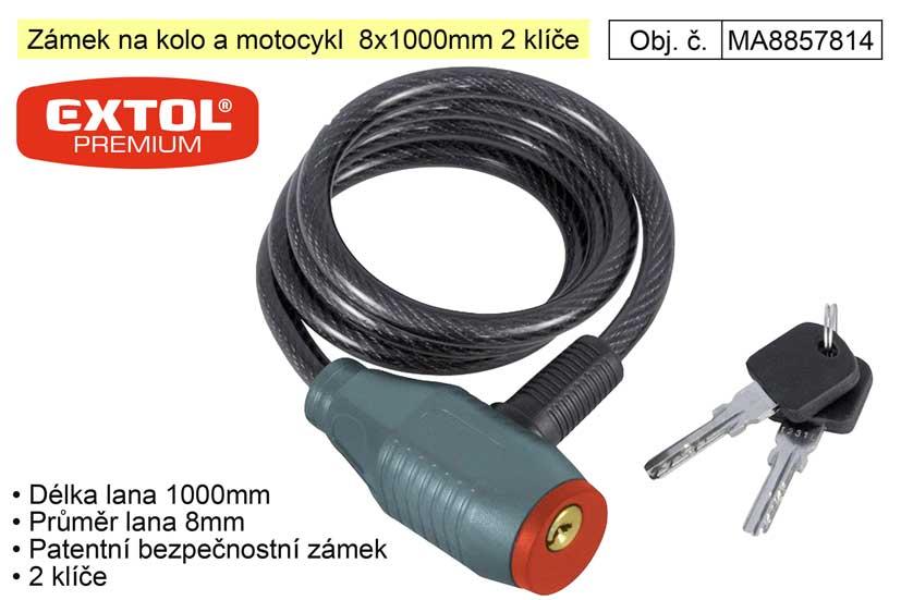 Zámek na kolo a motocykl  8x1000mm 2 klíče