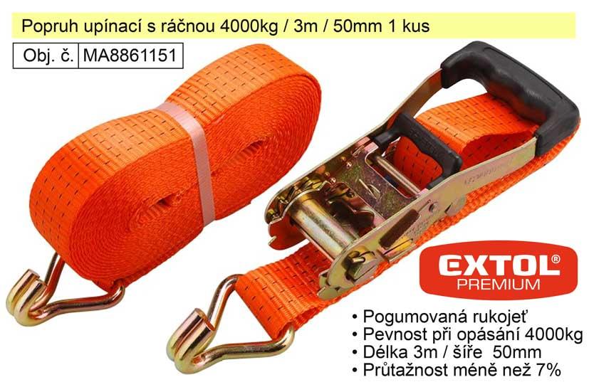 Popruh upínací s ráčnou 4000kg / 3m / 50mm 1 kus