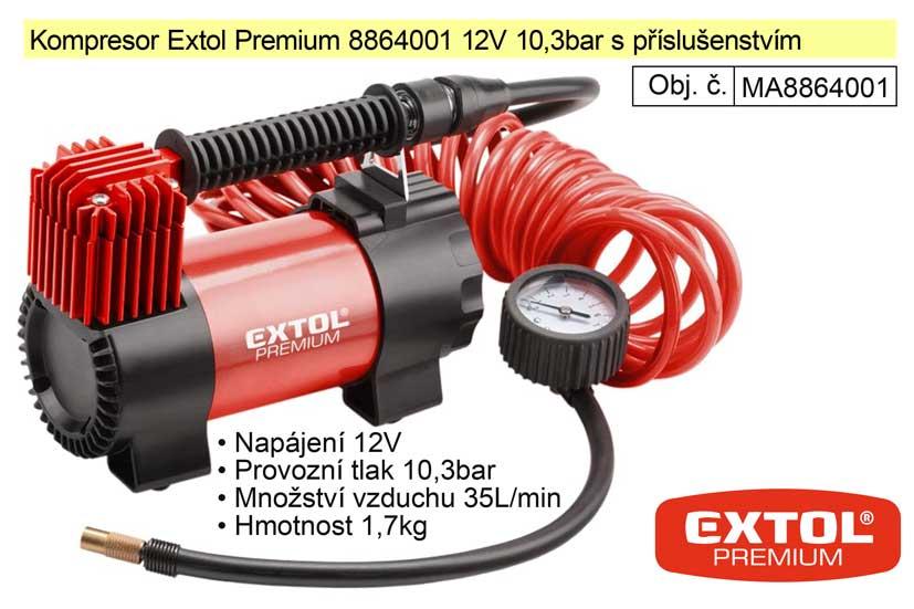 Kompresor Extol Premium 8864001 12V 10,3bar s příslušenstvím Nářadí-Sklad 2 | 2,717 Kg
