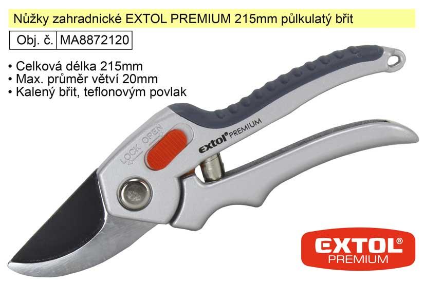 Nůžky zahradnické EXTOL PREMIUM 215mm půlkulatý břit