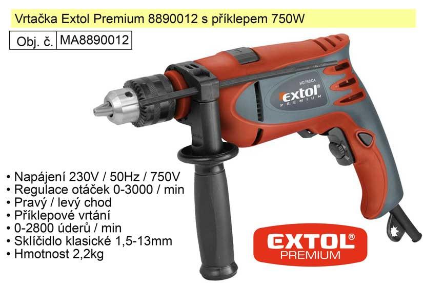 Elektrická vrtačka s příklepem 750 W Extol Premium 8890012