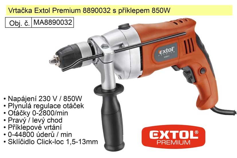 Elektrická vrtačka s příklepem 850 W Extol Premium 8890032