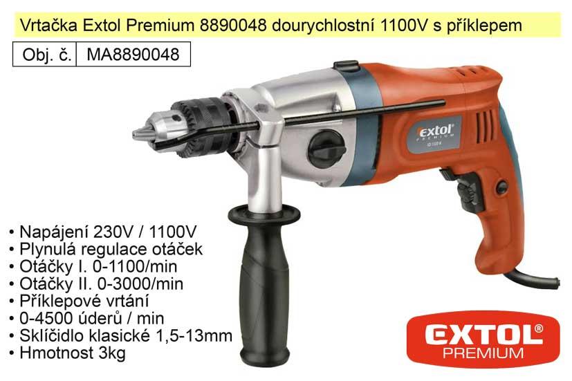 Elektrická vrtačka dvourychlostní 1100 W Extol Premium 8890048