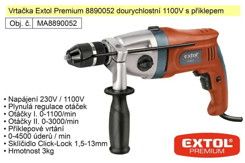 Elektrická vrtačka dvourychlostní 1100 W Extol Premium 8890052
