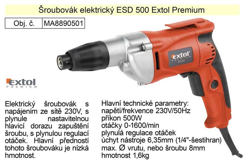 Šroubovák elektrický Extol Premium ESD500