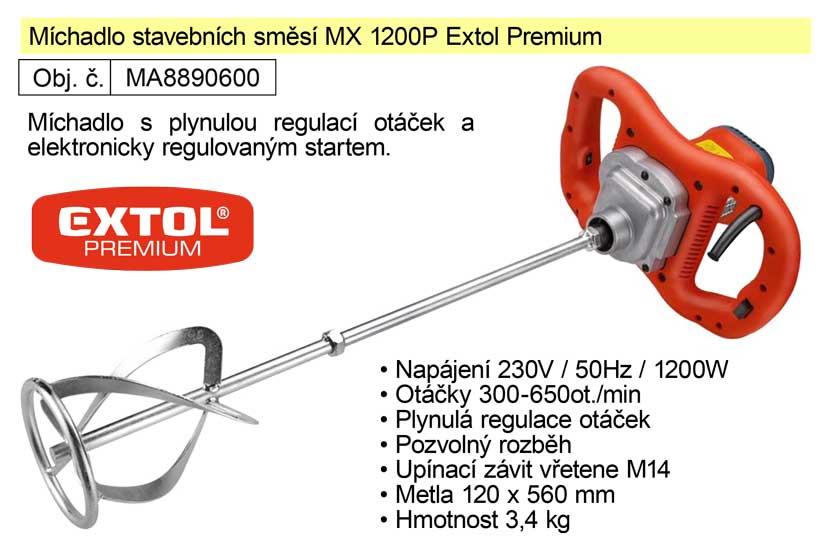 Elektrické míchadlo stavebních směsí MX 1200 P Extol Premium