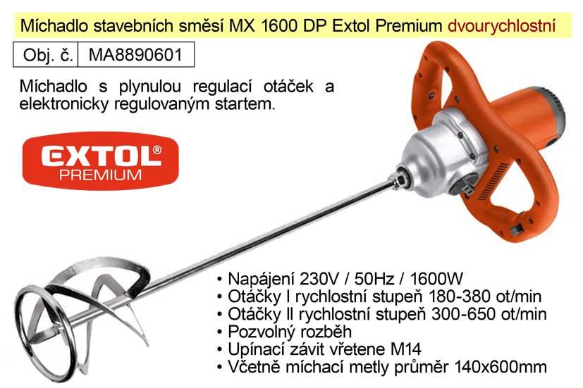 Míchadlo stavebních směsí MX 1600 DP Extol Premium