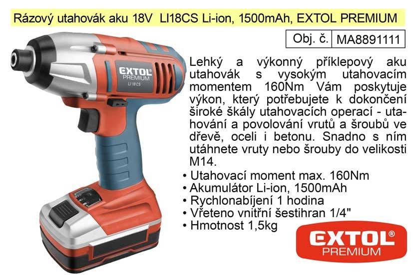 Aku rázový utahovák 18 V / 1500 Ah  Li-On Extol Premium 8891111