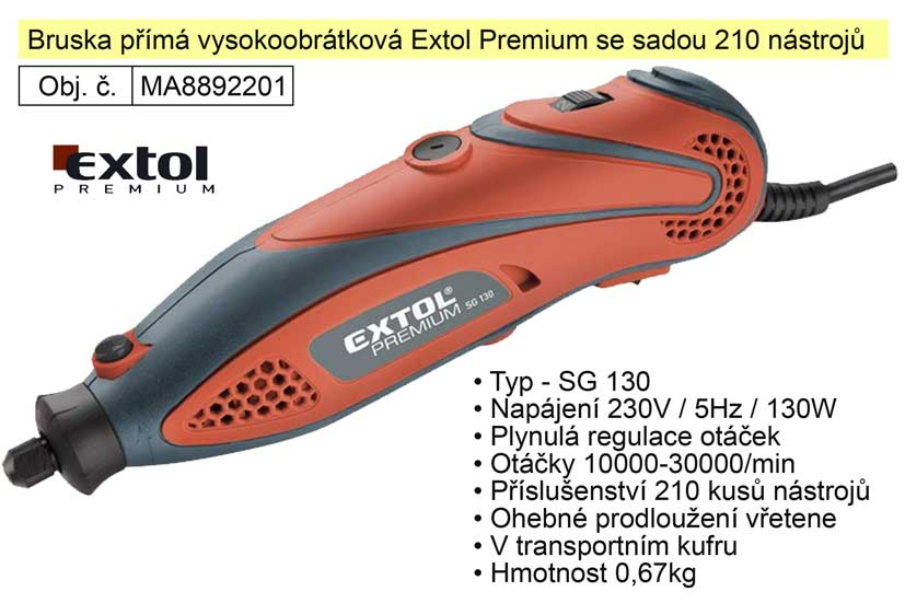Bruska přímá vysokoobrátková Extol Premium se sadou 210 kusů nástrojů 8892201