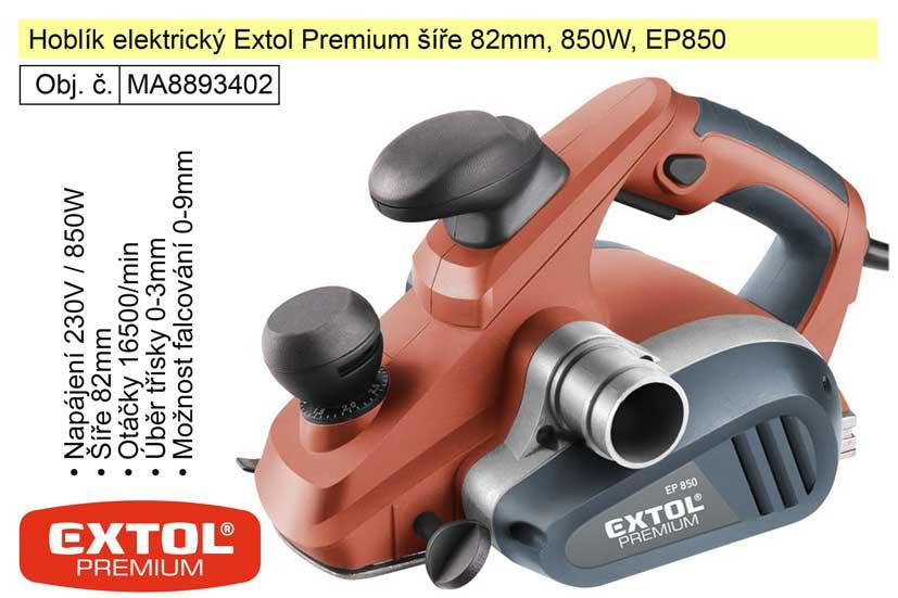 Hoblík elektrický Extol Premium šíře 82mm, 850W, EP850