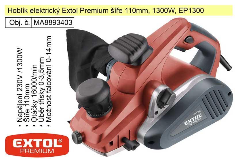 Hoblík elektrický Extol Premium šíře 110mm, 1300W, EP1300