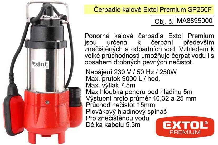 Čerpadlo ponorné kalové 250 W  9000 l / min.  Extol Premium 8895000