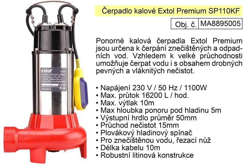 Čerpadlo ponorné kalové s řezacím nožem 1100 W  272 l / min.  Extol Premium 8895005