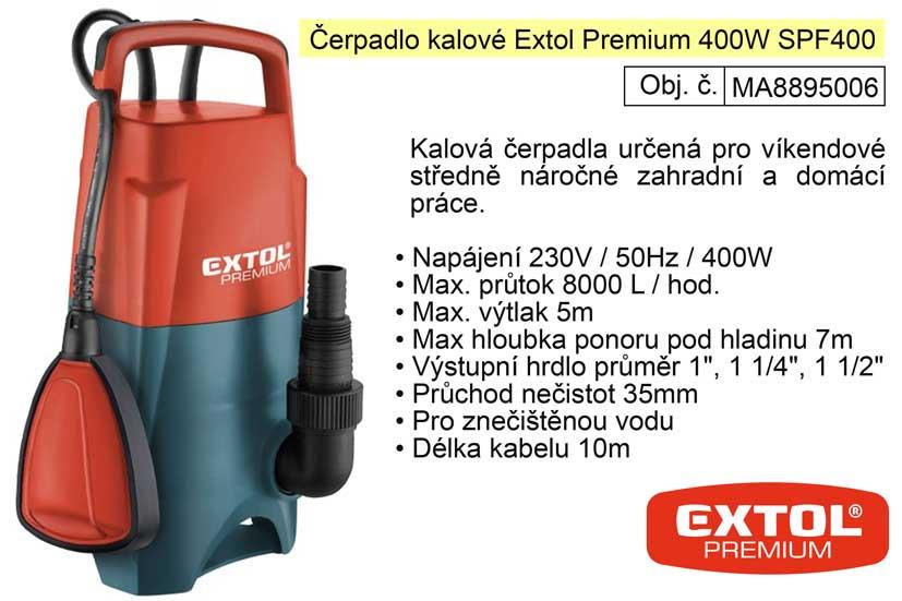 Čerpadlo elektrické kalové 400 W 8000 l / hod  Extol Premium 8895006
