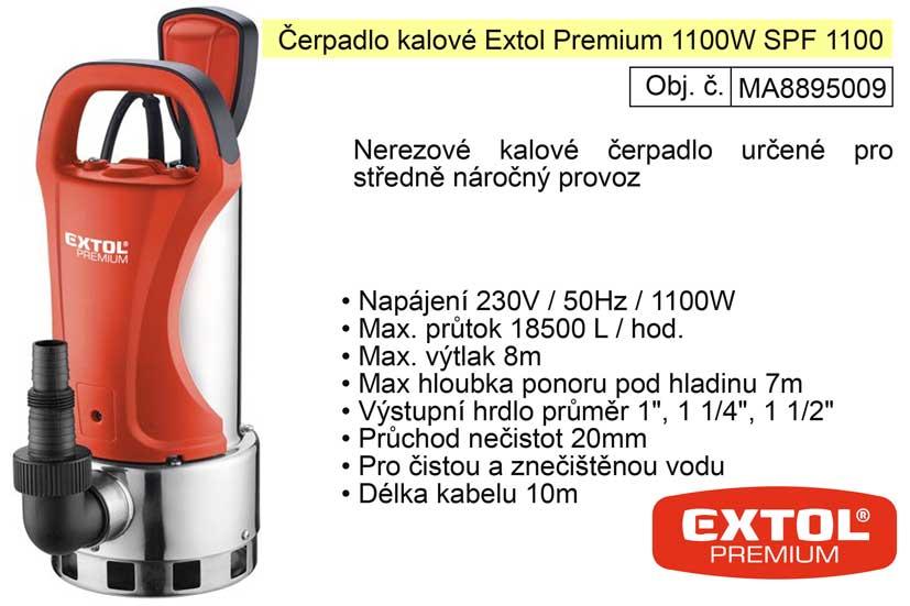 Čerpadlo elektrické nerezové kalové 750 W 18100 l / hod  Extol Premium 8895009