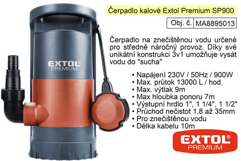 Čerpadlo ponorné kalové 3 v 1  900 W  1300 l / hod.  Extol Premium 8895013