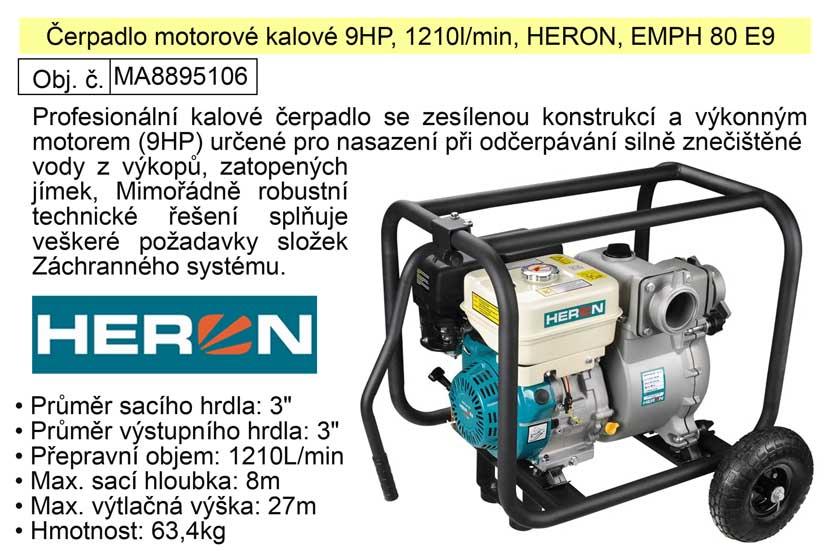Čerpadlo EMPH 80 E9 Heron motorové kalové 9,0HP