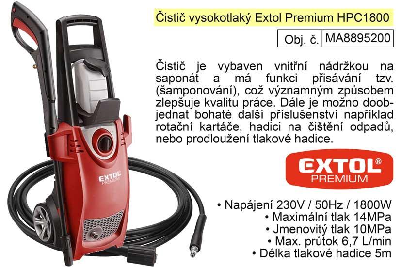 Čistič vysokotlaký Extol Premium 8895200 HPC1800