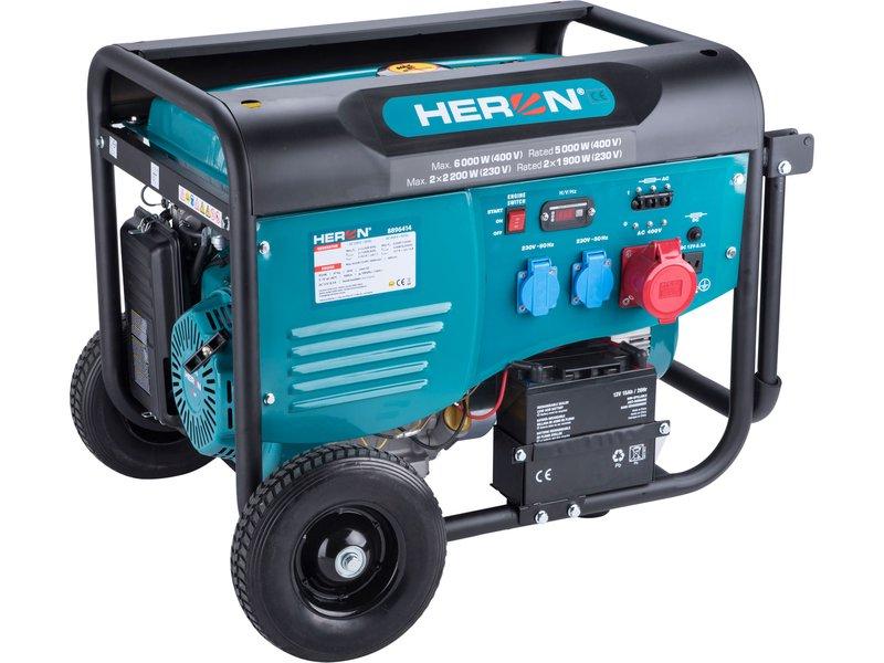 HERON elektrocentrála benzínová 13HP/6,0kW (400V), 2x2,2kW (230V), el. start, 8896414
