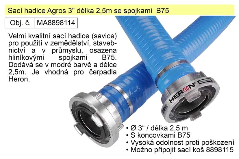 "Sací hadice (savice)  Agros 3"" délka 2,5m se spojkami  B75"
