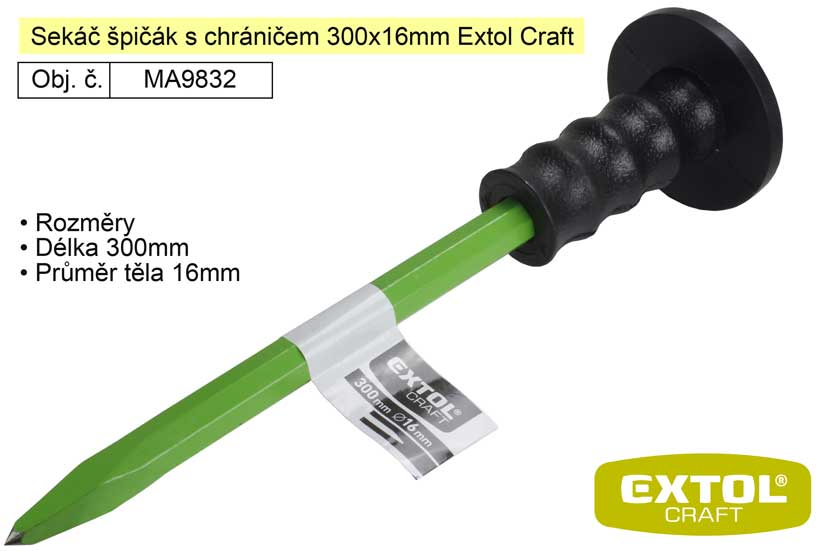 Sekáč špičák s chráničem 300x16mm Extol Craft 9832