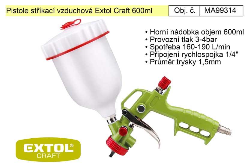 Pistole stříkací vzduchová Extol Craft 99314 objem 600ml