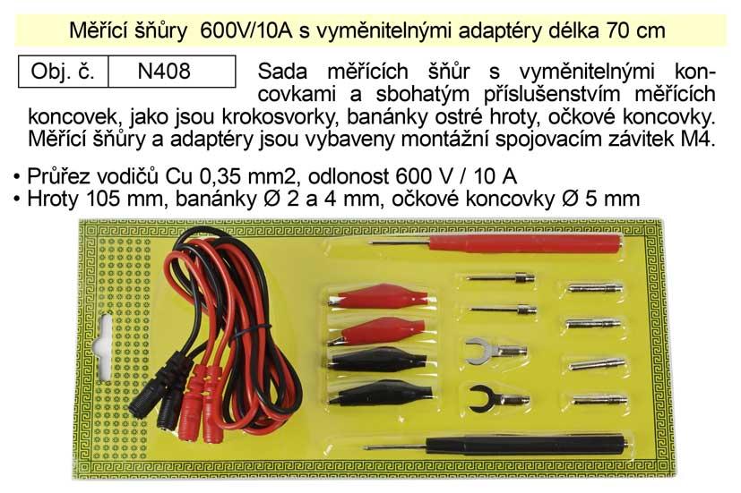 Měřící šňůry  600V/10A s vyměnitelnými adaptéry