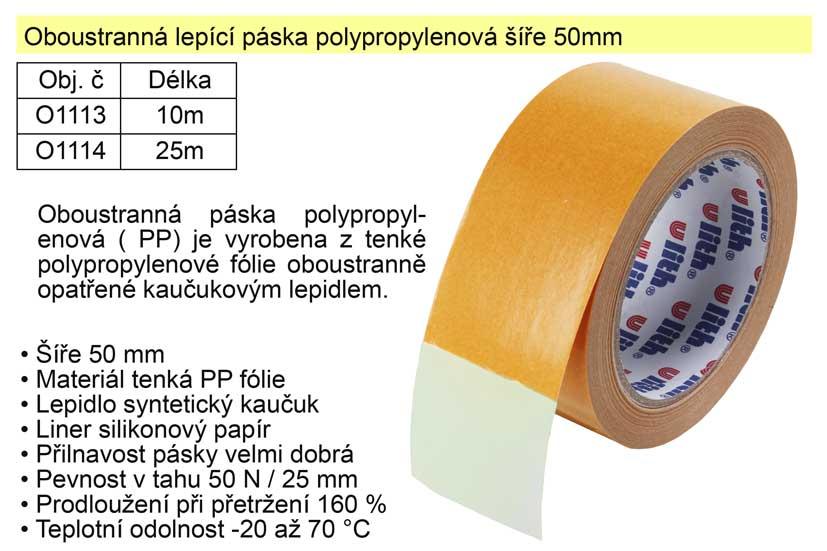 Oboustranná lepící páska polypropylenová 50mm/10m