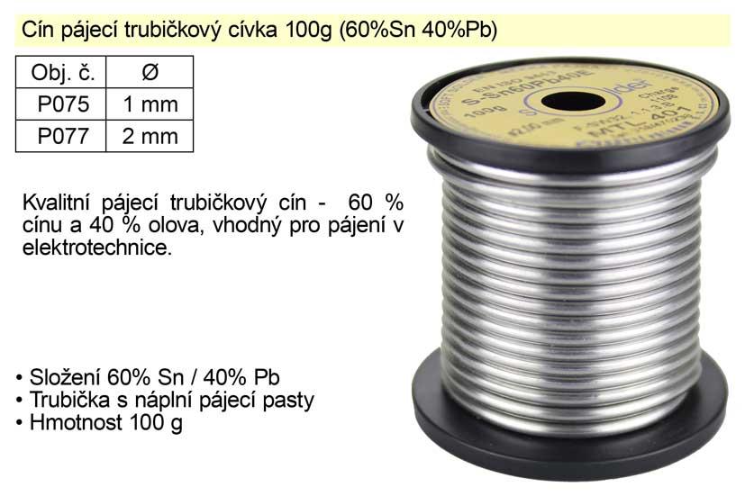 Cín pájecí trubičkový 2 mm / 100g (60%Sn 40%Pb)
