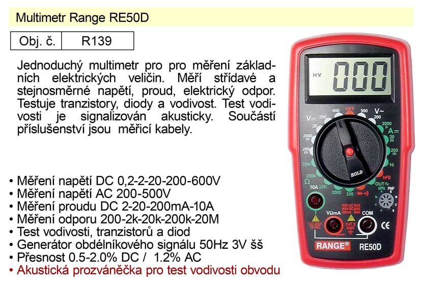 Multimetr Range RE50D