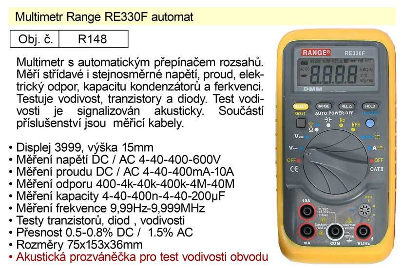 Multimetr Range RE330F automat