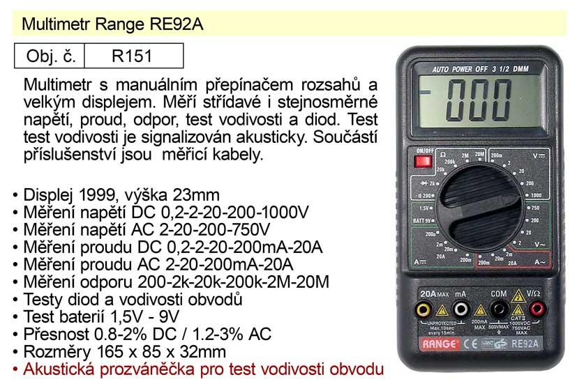 Multimetr Range RE92A
