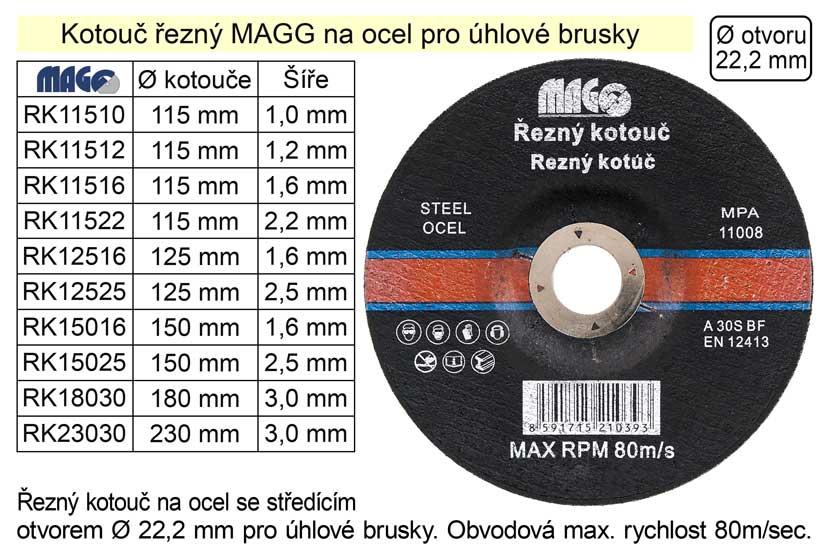 Kotouč řezný na ocel 115x1,2mm MAGG