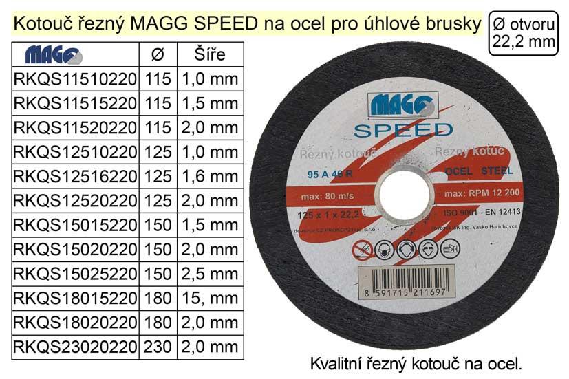 Kotouč řezný na  ocel 180x2,0mm MAGG SPEED