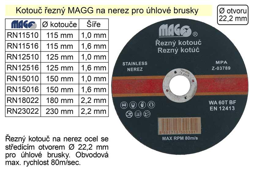 Kotouč řezný na nerez 115x1,0mm MAGG