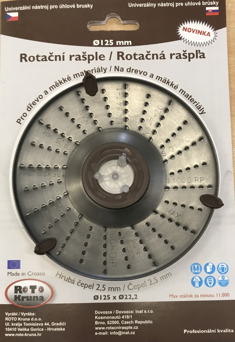 ROTO - Rotační rašple 125x22,2mm - 2,5mm - čepel hrubá, R-2.5/125-Z Nářadí 0.063Kg ROTO12525