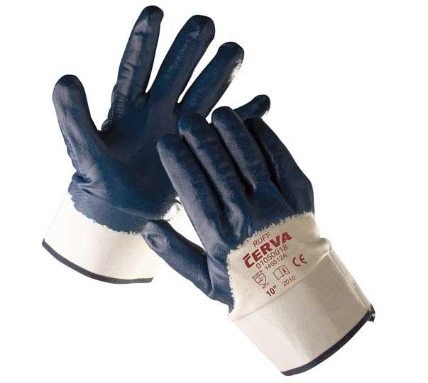 RUFF - rukavice z bavlněného úpletu s nitrilovou dlaní a tuhou manžetou - velikost 11