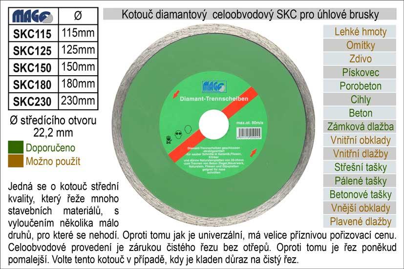 Kotouč diamantový celoobvodový pro úhlové brusky SKC115
