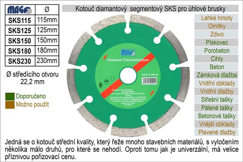 Kotouč diamantový segmentový pro úhlové brusky SKS230