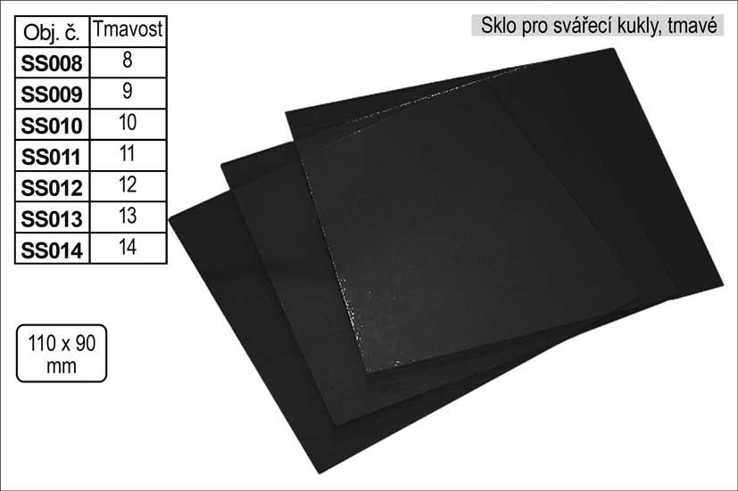 Sklo svářecí tmavé rozměr 110x90mm tmavost č. 8