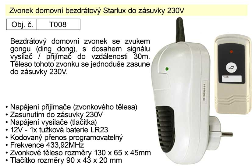 Zvonek domovní bezdrátový Starlux do zásuvky 230V