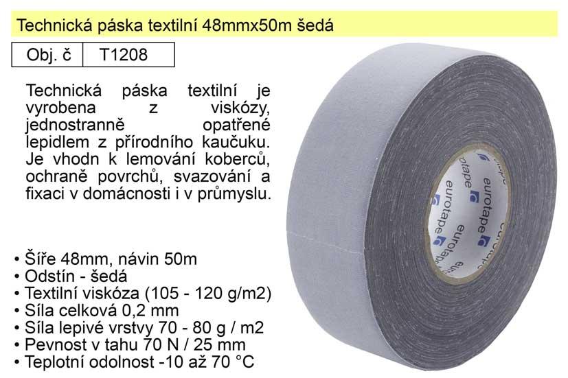 Technická páska textilní 48mmx50m šedá