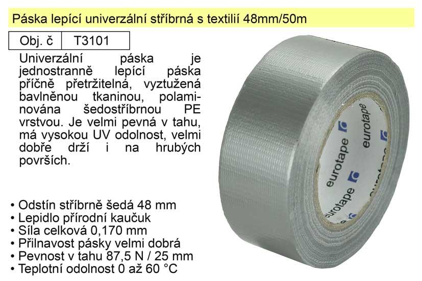 Páska lepící univerzální stříbrná s textilií 48mm/50m