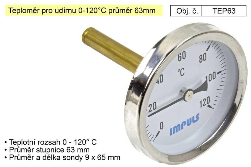 Teploměr pro udírnu 0-120°C průměr 63mm