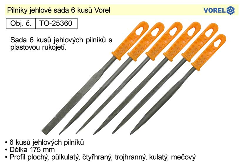 Pilníky jehlové sada 6 kusů Vorel Nářadí 2Kg TO-25360