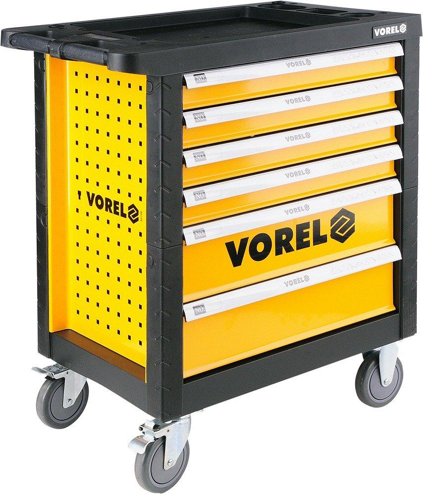 Skříňka pojízdná, s nářadím, 177 kusů, 6 zásuvek, Vorel