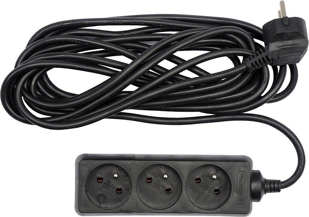 Kabel prodlužovací 5,0 m 3 zásuvky,černý