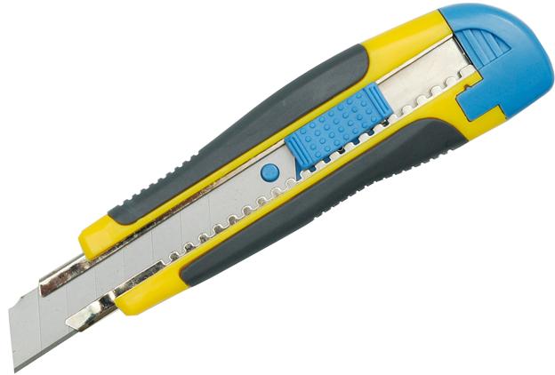 Nůž ulamovací VOREL plastový 18mm s kovovou výstuhou a pogumovanou r