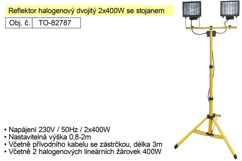 Reflektor halogenový se stojanem Tripod dvojitý 2x400W