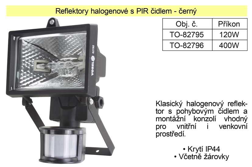 Reflektor halogenový s PIR čidlem černý 400W